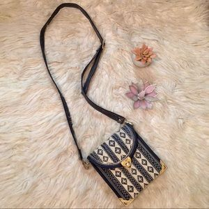 Vintage Italy Embroidered Passport Crossbody